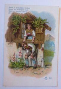Künstlerkarte, Frauen, Männer, Mode,  Trachten, 1900, Golddruck ♥ (31199)