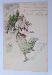 Neujahr, Frauen, Mode, Schwein, Schlittschuhlaufen,   1902 ♥ (19623)