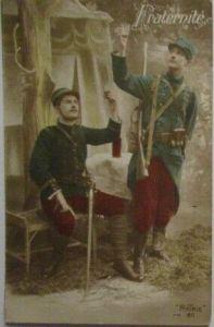 Frankreich Belgien, Soldaten mit Wein, Fraternite 1915 (16732)