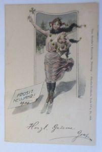 Neujahr, Frauen, Mode, Schwein, Harlekin, Ski,   1900, Theo Stroefer ♥ (19609)