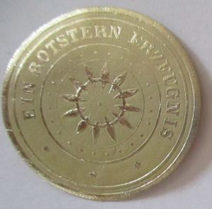 Werbung Reklame Rotstern Erzeugnis ( Schokolade Saalfeld ) xx Vignette (62665)