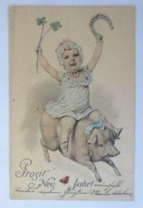 Neujahr, Schwein, Kinder, Hufeisen, Marienkäfer, 1903, Theo Stroefer ♥ (21269)