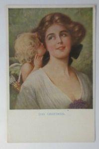 Künstlerkarte, Frauen, Amor, Das Geheimnis, 1910, Munk Vienne ♥ (59012)