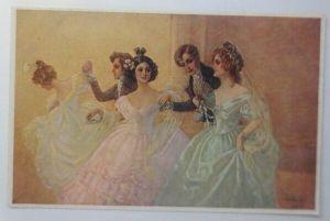 Künstlerkarte, Frauen, Männer, Mode, Ball, Tanzen,  1910, Munk Vienne ♥ (61764