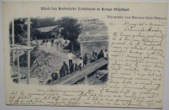 Kongo Freistaat, Hausbau in Boma, 1901 aus Belgien (54154)