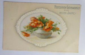Neujahr, Blumen, Mohnblumen,   1909, Prägekarte ♥ (40861)