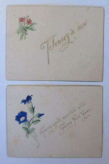 2.Glückwunschkärtchen, Zwei Englische Briefkärtchen mit Frablithos, 1900♥(21970)