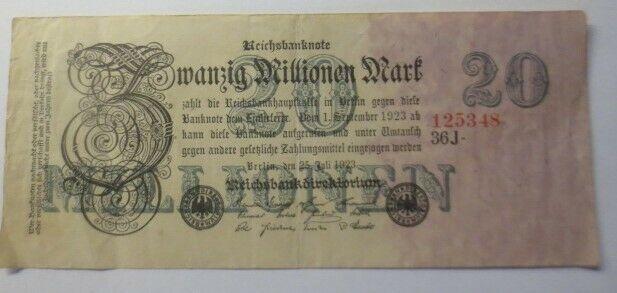 Geldschein, Zwanzig Millionen Mark 1923,  125348 J.  ♥  (28G)