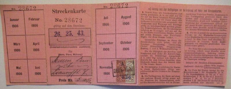 Eisenbahn Fahrschein Streckenkarte 1906 Strecke Lindenthal Köln usw. (17152)