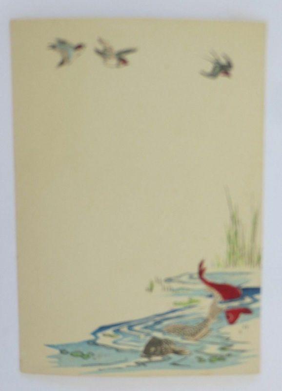 3 x Briefpapier, Fisch, Möwe,  1900 ♥