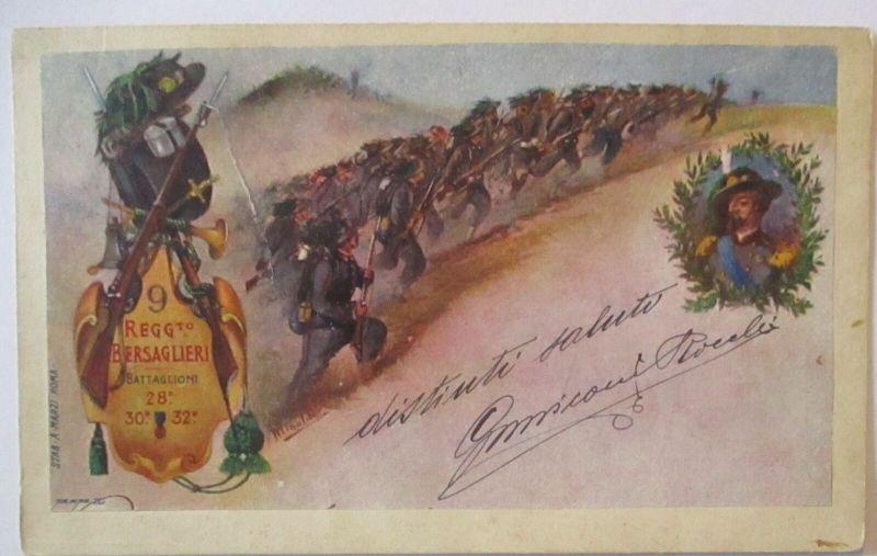 Italien Regimentskarte 9. Bersaglieri Regiment ca. 1900 aus Adi Ugri (62945)