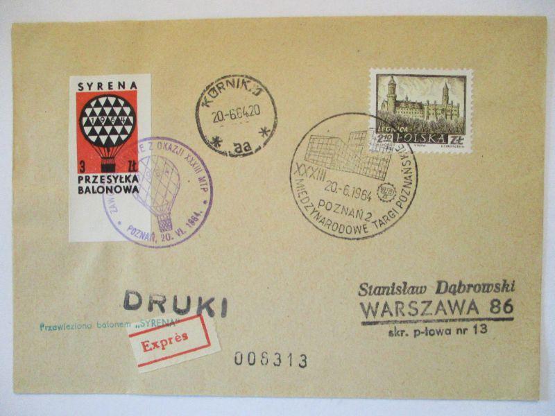 Polen, Ballonpost 1964   57480