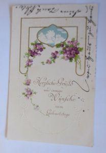 Geburtstag, Blumen, Landschaft, Jugendstil,  1914, Prägekarte  ♥ (20336)