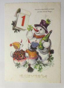 Neujahr, Schneemann Sekt, Kalender, Kleeblatt, 1973  ♥ (57684)