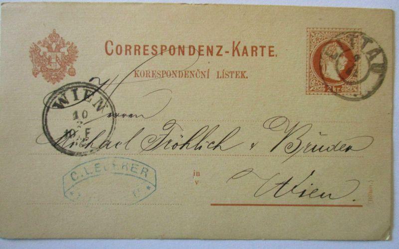 Tschechien, Ganzsache 1882 aus Littau Litovel, Ganzsache Österreich