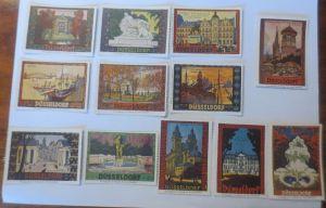 12 Vignetten Düsseldorf Stadt mit Kirchen Brunnen Schloss u.a  ♥ (22211)