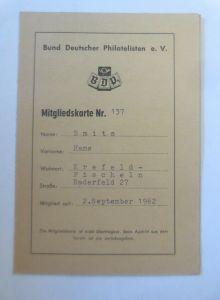 Mitgliedskarte Nr. 137 Bund Deutscher Philatelisten e.V. Krefeld 1962 ♥ (8910)