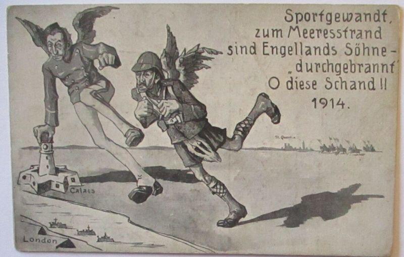Großbritannien Sportgewandt zum Meeresstrand, Englands Söhne, 1914 (6310)