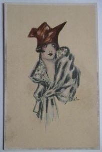 Künstlerkarte Erna Maison-Kurt, Frau mit Hut, Art Deco (42213)