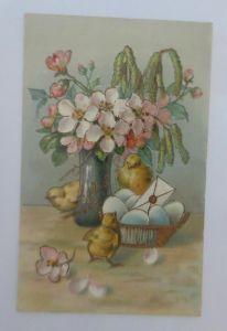 Ostern, Vase, Küken, Korb, Eier, Brief, 1907  ♥