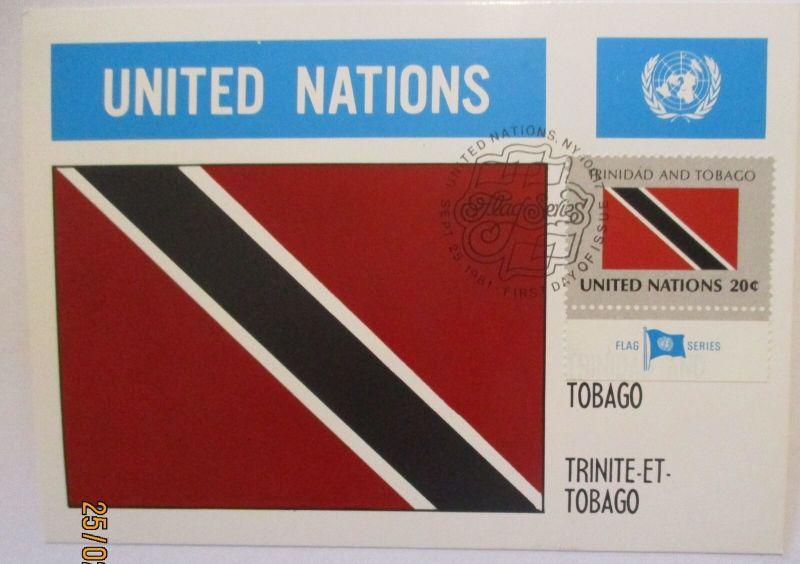 UNO Flaggen Maximumkarte 1981 Trinidad and Tobago (50190)
