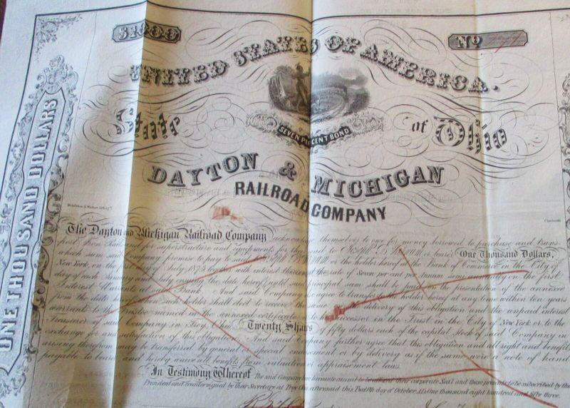 USA Dayton & Michigan Railroad Co. Mortgage Bond 1000 $ from 1851 1