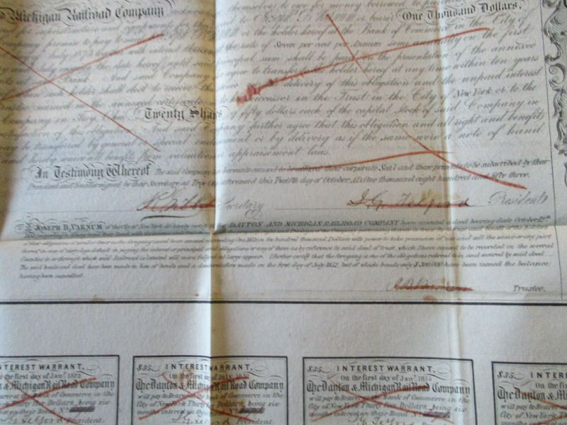 USA Dayton & Michigan Railroad Co. Mortgage Bond 1000 $ from 1851 2