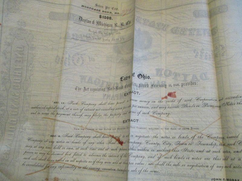 USA Dayton & Michigan Railroad Co. Mortgage Bond 1000 $ from 1851 3