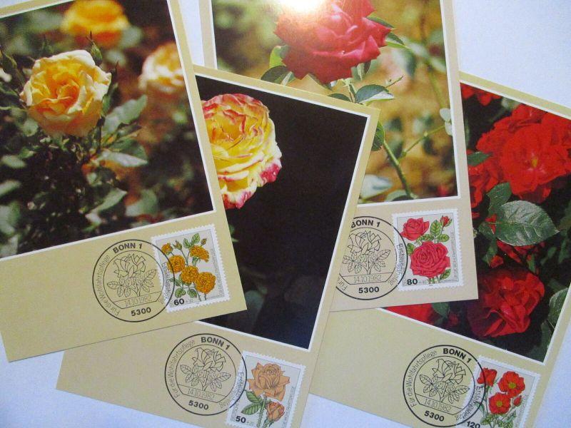 Blumen Rosen 4 Karten 1982 ( (3742)