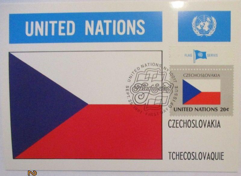UNO Flaggen Maximumkarte 1981 Tschechoslowakei (12728)