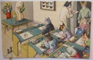 Personifizierte Katzen Schule Kunstunterreicht Malen, Edition Künzli (27387)