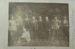 Bayern, Soldaten, Veteranentreffen, Fotokarte 1915 mit Bahnpost (34381)