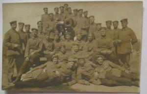 Deutsche Soldaten mit Kanone, Artillerie, Fotokarte (18981)