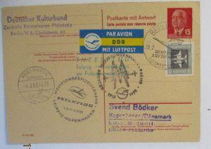 DDR Lufthansa Interflug Luftpost Ganzsache 1959 nach Dänemark (72314)