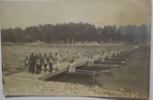 Frankreich Pioniere mit Ponton-Brücke, Schwimmwesten, Fotokarte (3284)