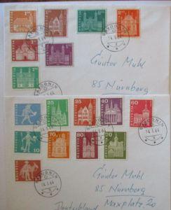 Schweiz 17 Werte Freimarken auf 2 Briefe 1964 (57460)