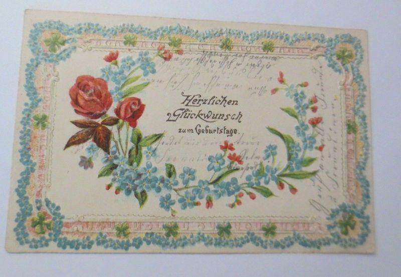 Geburtstag, Blumen, Kleeblatt,  Rosen, Jugendstil,  1903, Prägekarte ♥ (2646)