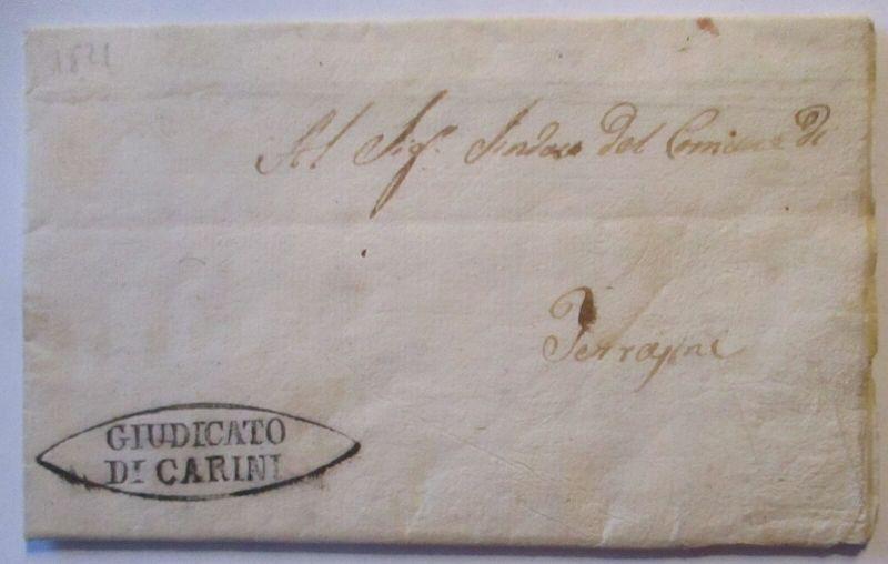 Italien Sizilien Vorphila 1826 aus Carini mit viel Text (28689)