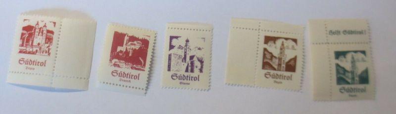 Österreich Italien Südtirol u.a Meran Bozen Vignetten Serie 5 Marken  ♥ (57832)