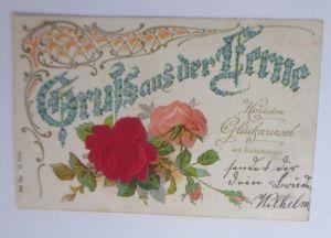 Geburtstag, Blumen, Rosen, Jugendstil,  1902, Prägekarte ♥ (54773)