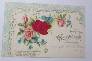 Geburtstag, Blumen, Rosen, Jugendstil,  1903, Prägekarte ♥ (67922)