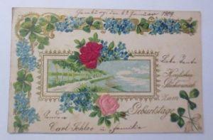 Geburtstag, Blumen, Rosen, Landschaft, Jugendstil,  1904, Prägekarte ♥ (66755)