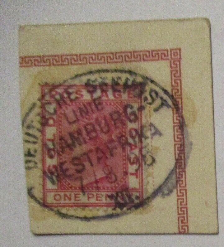 Deutsche Seepost Linie Hamburg-Westafrika, Briefstück 1896 (30341)