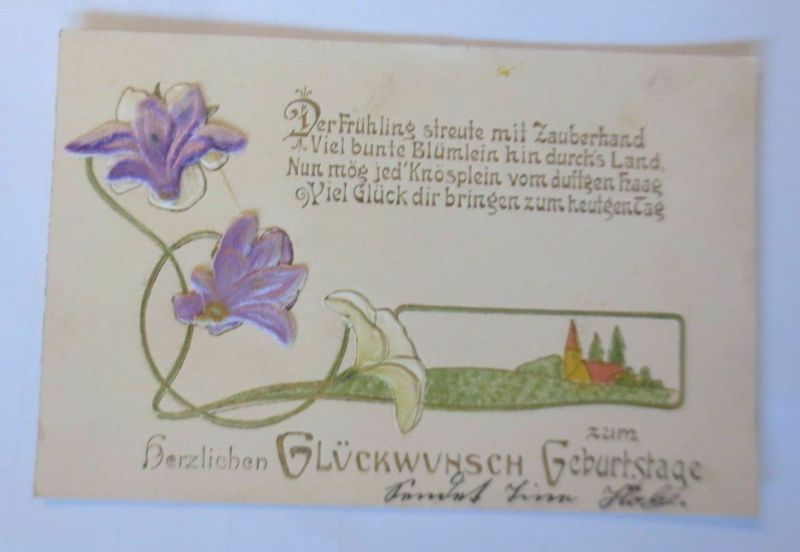 Geburtstag, Blumen, Landschaft, Jugendstil, Stoffblumen, 1914, Prägekarte♥(2286)