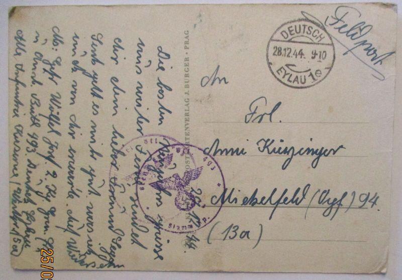 Polen Masuren, Feldpost 28.12. 1944 aus Deutsch Eylau nach Michelfeld  (29300)