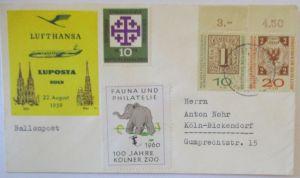 Luposta Köln 1959 Brief mit Vignette Kölner Zoo (70623)