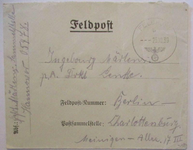 Feldpost WW 2, Feldpostnummer 05478 Brief 1939 nach Berlin (27868) 0