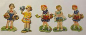 5.Oblaten, Kinder, Blumen,     1900,  5,5 cm x 3 cm  ♥  (36225)