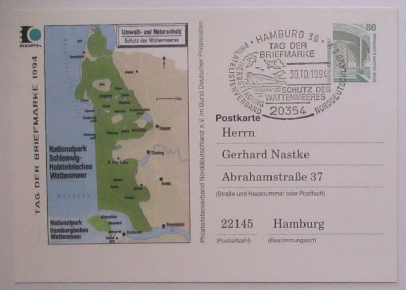 Natur Umwelt Wattenmeer Schleswig Holstein Ganzsache 1994 (1825)