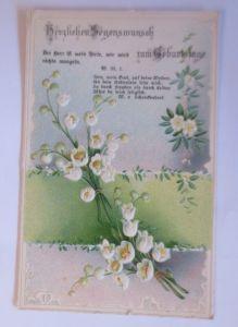 Geburtstag, Blumen, Maiglöckchen,   1908, Prägekarte  ♥  (66543)
